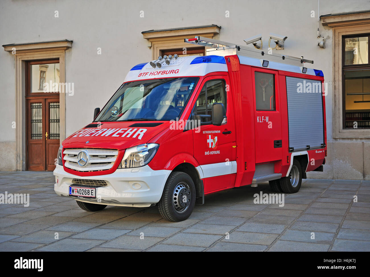 VIENNA, AUSTRIA - JUNE 6: Fire track in the street of Vienna downtown on June 6, 2016. - Stock Image
