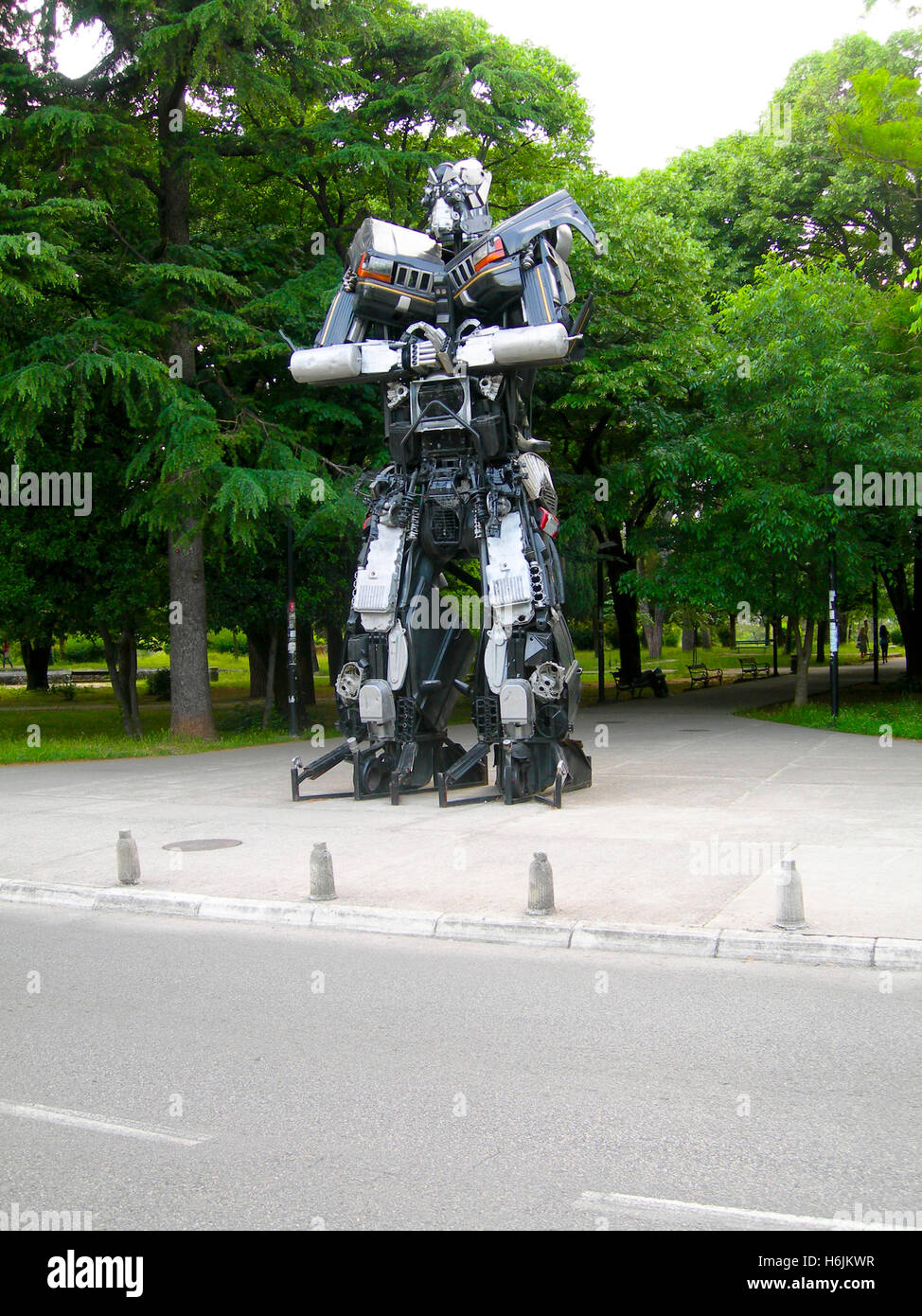 PODGORICA, MONTENEGRO-May 15: Transformer sculpture art made of automobile parts is seen at exhibitTransformers Stock Photo
