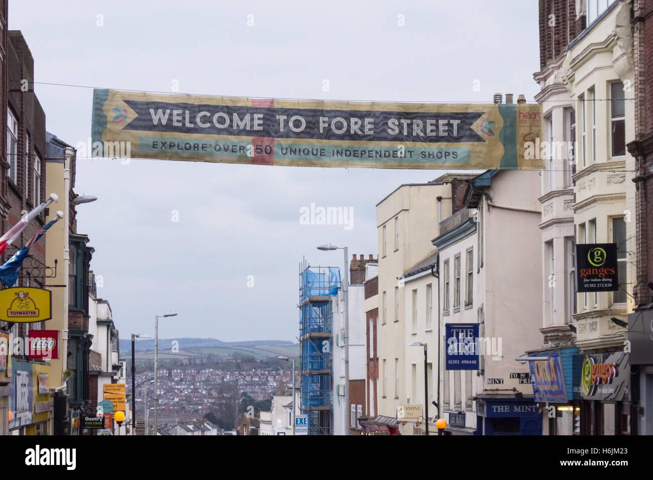 Independent shops on Fore Street, Exeter, Devon, England, UK - Stock Image