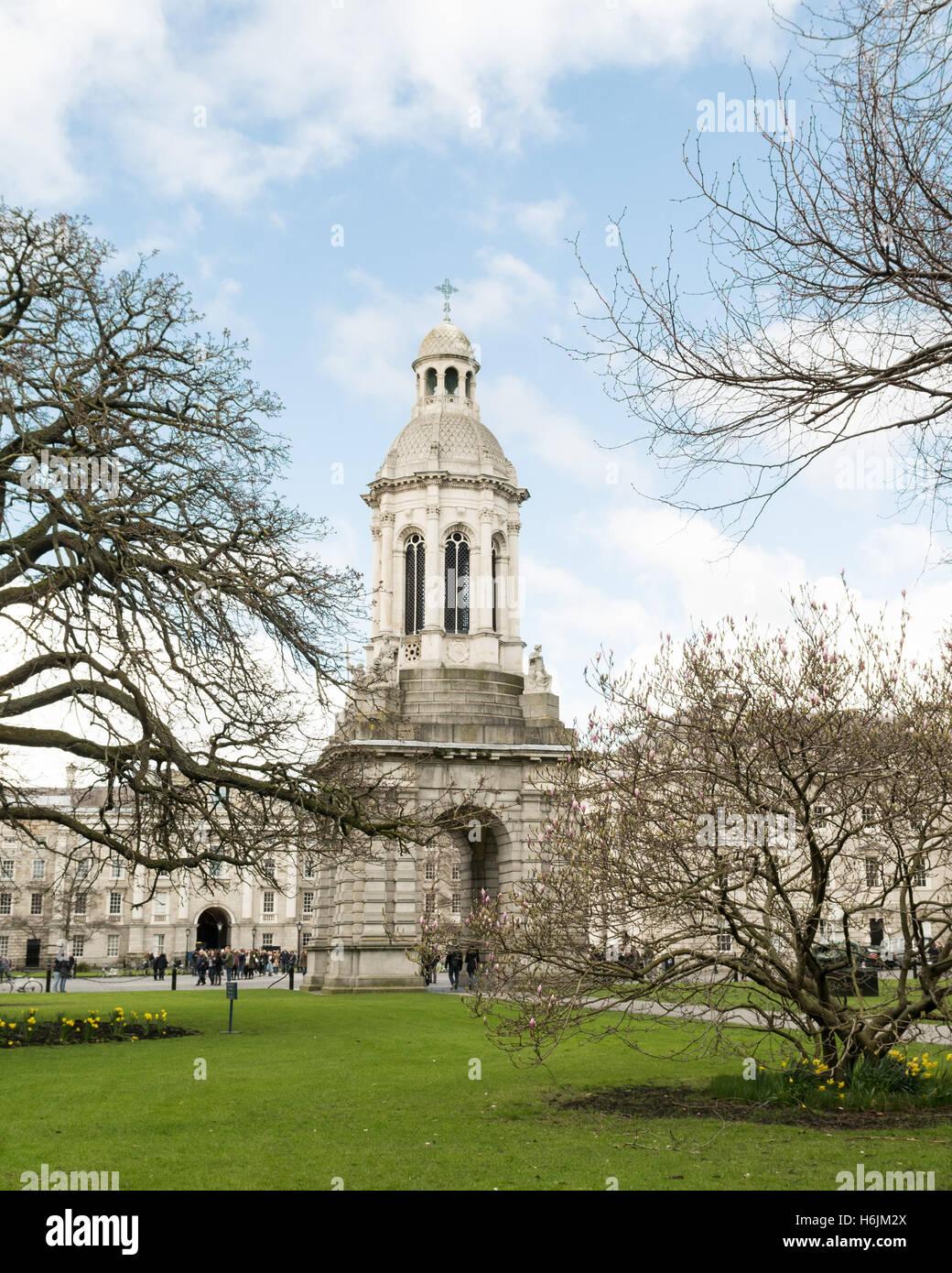 Trinity College Dublin - campanile belltower - Dublin, Ireland - Stock Image