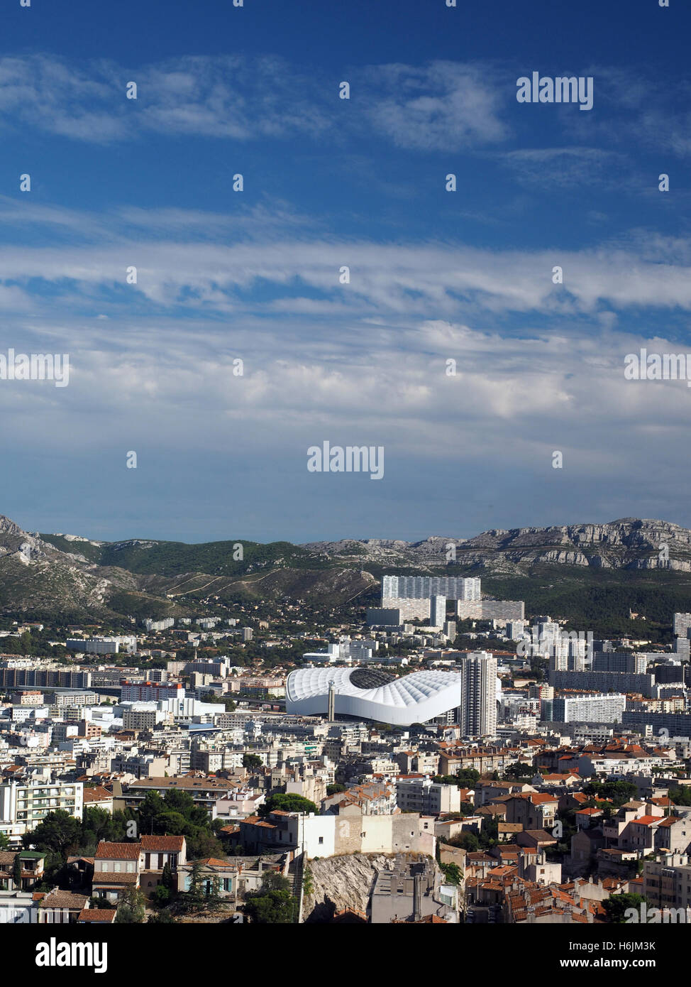 panorama of Marseille France with Stadium Velodrome - Stock Image