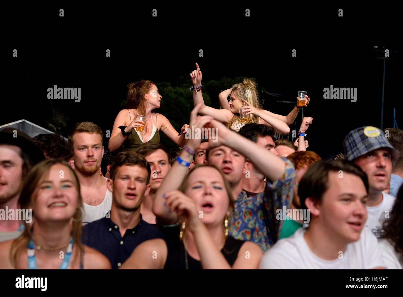 BENICASSIM, SPAIN - JUL 16: Crowd in a concert at FIB Festival on July 16, 2015 in Benicassim, Spain. - Stock Image