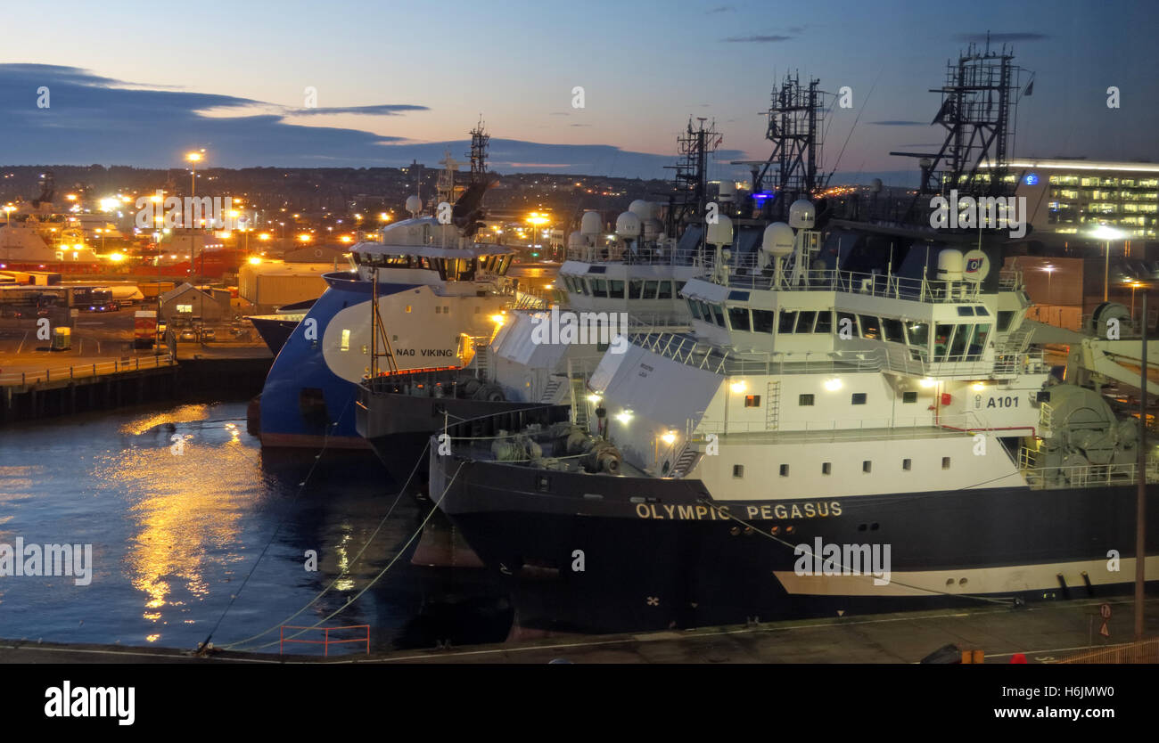 Aberdeen Harbour at Night, Aberdeenshire,Scotland,UK - Olympic Pegasus Stock Photo