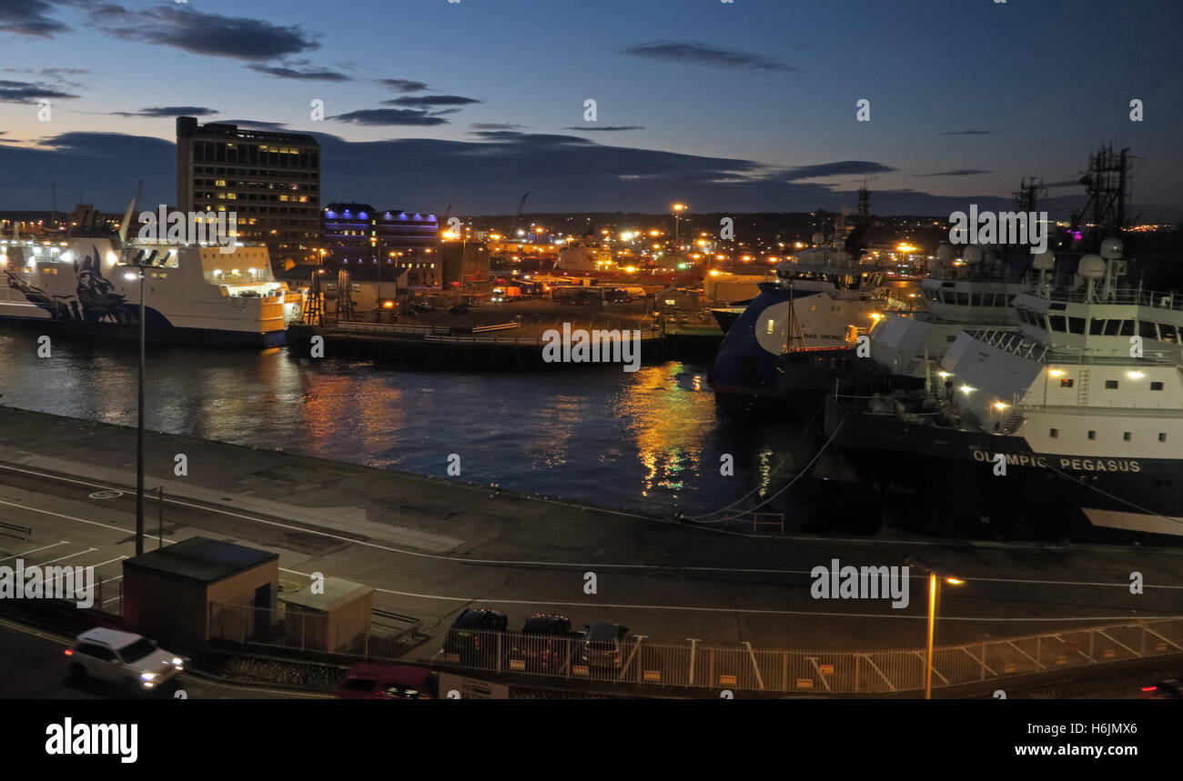 Aberdeen Harbour at Night, Aberdeenshire,Scotland,UK - Stock Image