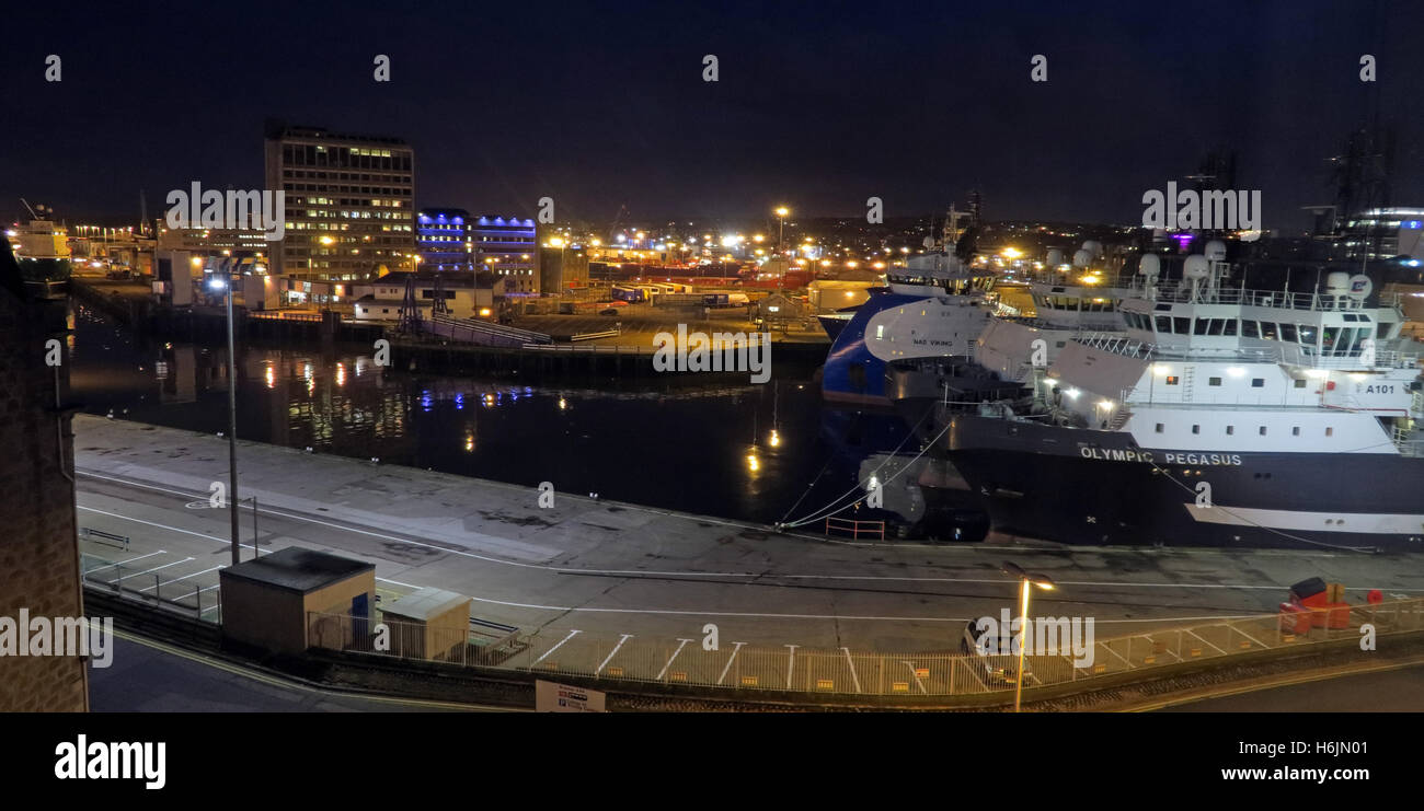 Aberdeen Harbour at Night, Aberdeenshire,Scotland,UK Pano - Stock Image