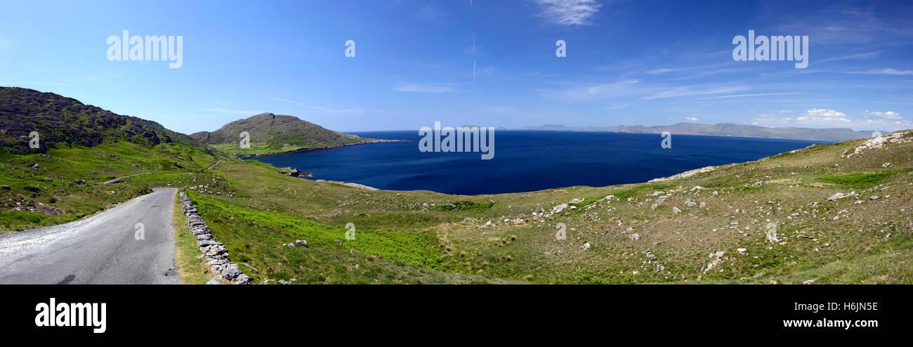 west cork beara peninsula panorama panoramic scene scenic atlantic ocean summer blue sky skies RM Ireland - Stock Image