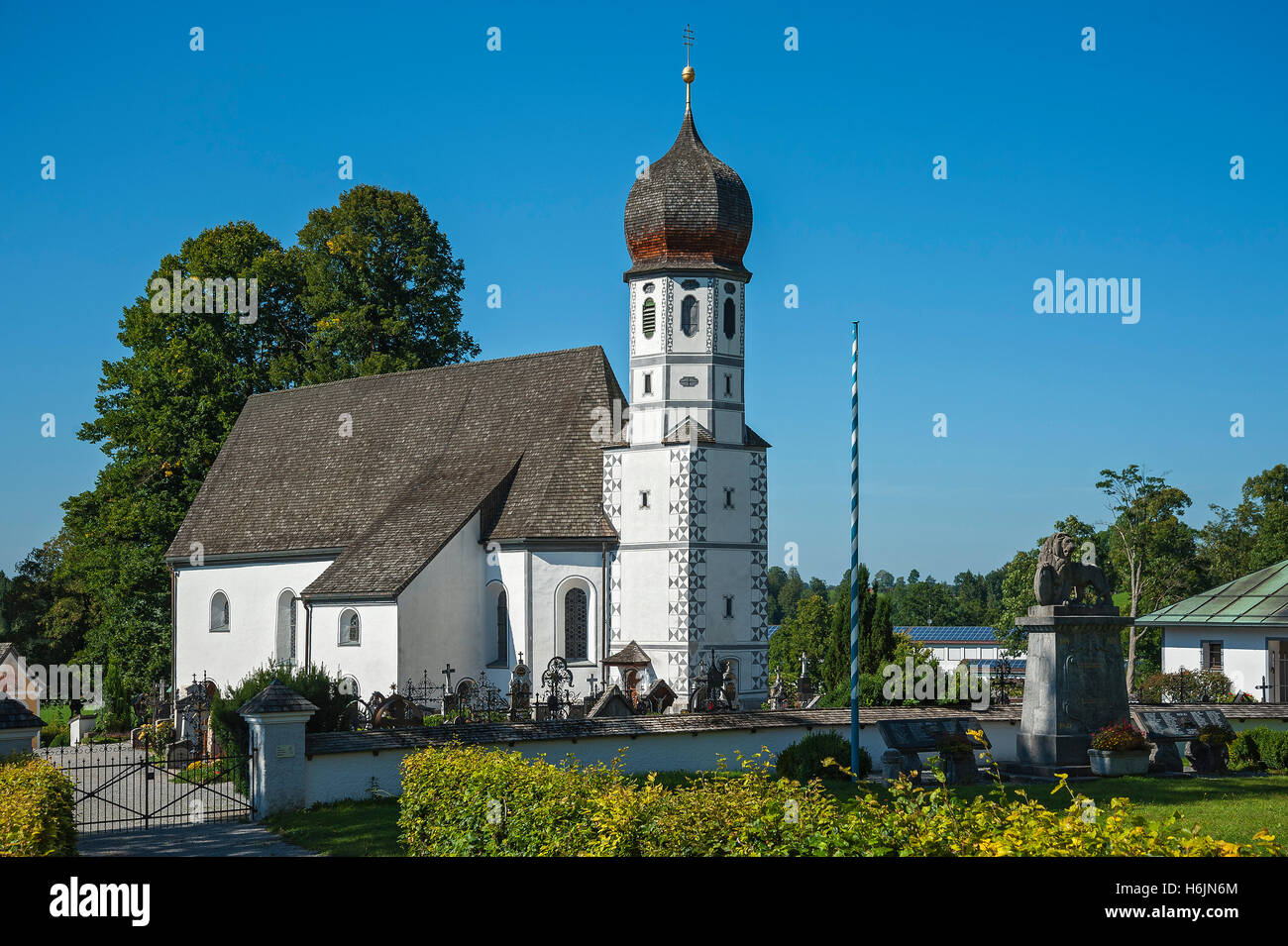 Chapel of Mariä Schutz in Fischbachau, Upper Bavaria, Bavaria, Germany - Stock Image