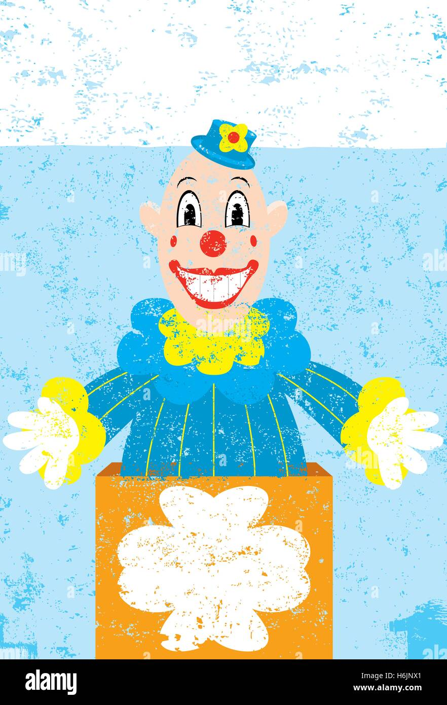 Toy in the Box  A smiling Toy in the box over an abstract background. - Stock Vector