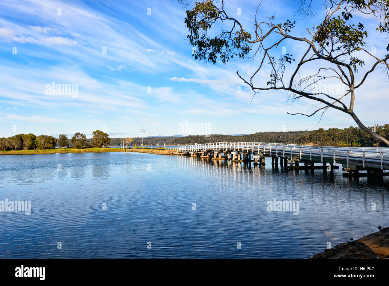 Scenic view of Wallaga Lake near Bermagui, New South Wales, NSW, Australia - Stock Image