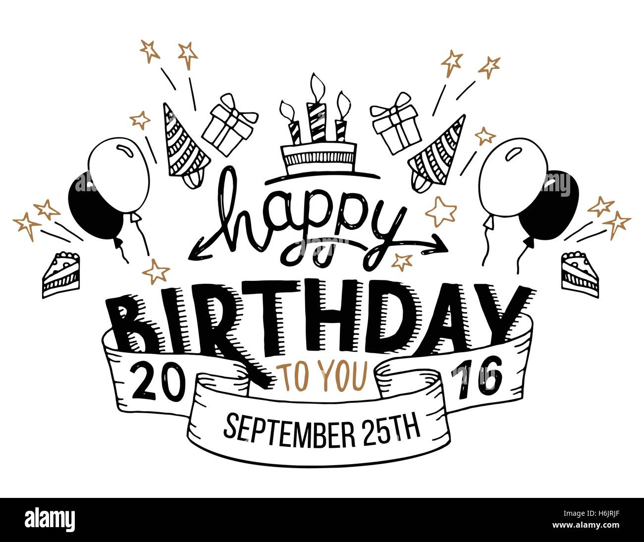 Happy Birthday To You Hand Drawn Typography Headline For Greeting Cards In Vintage Style Isolated On White Background