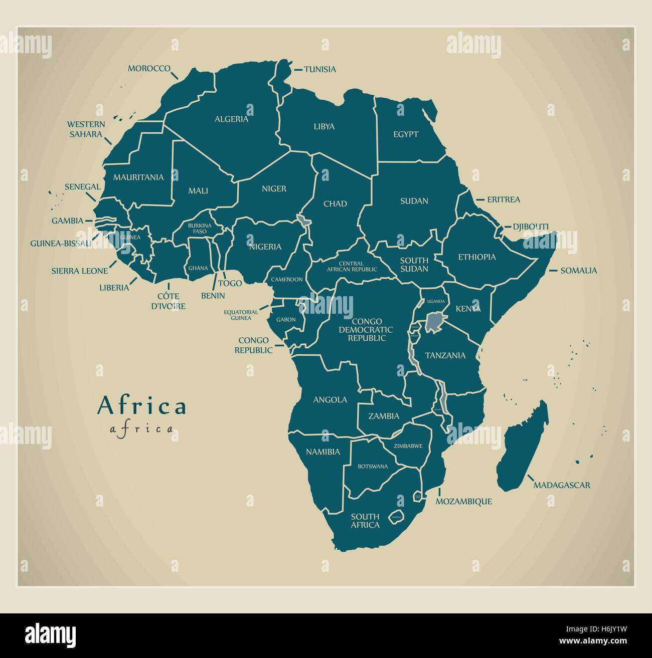 Modern Map   Africa continent with country labels Stock Vector Art