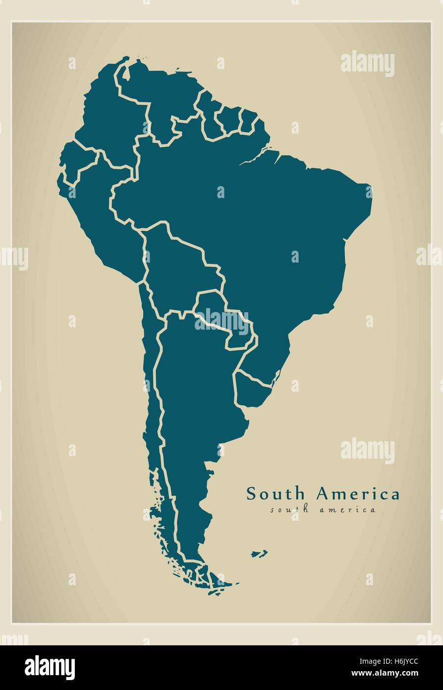 modern map south america map with all countries complete stock