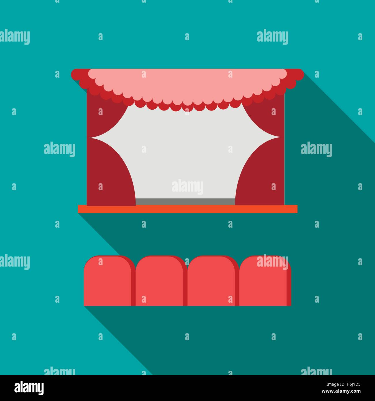 Cinema stage with red curtains icon, flat style - Stock Vector