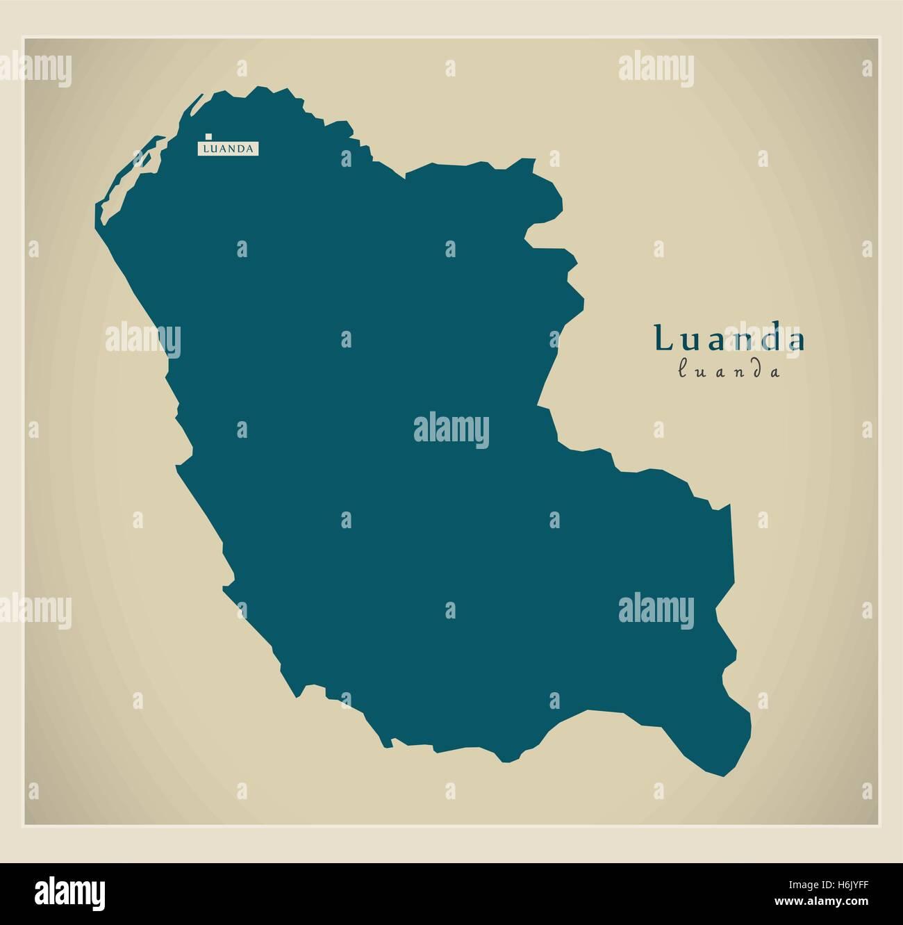 Modern Map - Luanda AO - Stock Vector