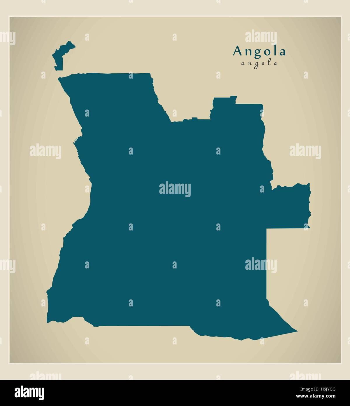 Modern Map - Angola AO - Stock Vector