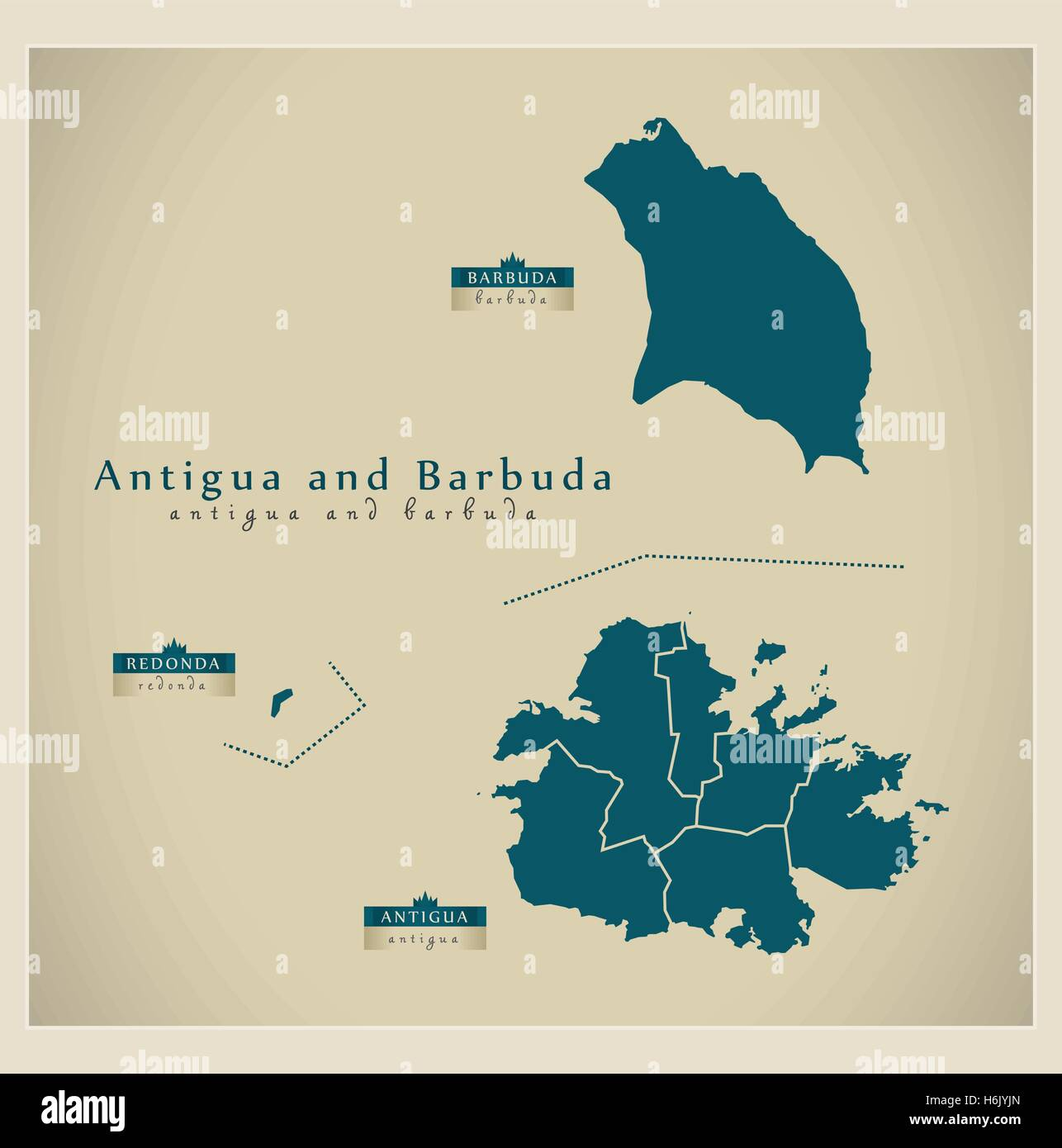 Modern Map Antigua and Barbuda regions AG Stock Vector Art