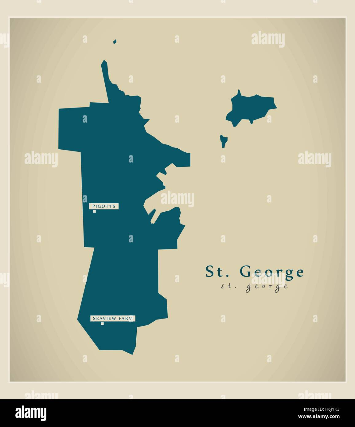 Modern Map - St. George AG - Stock Vector