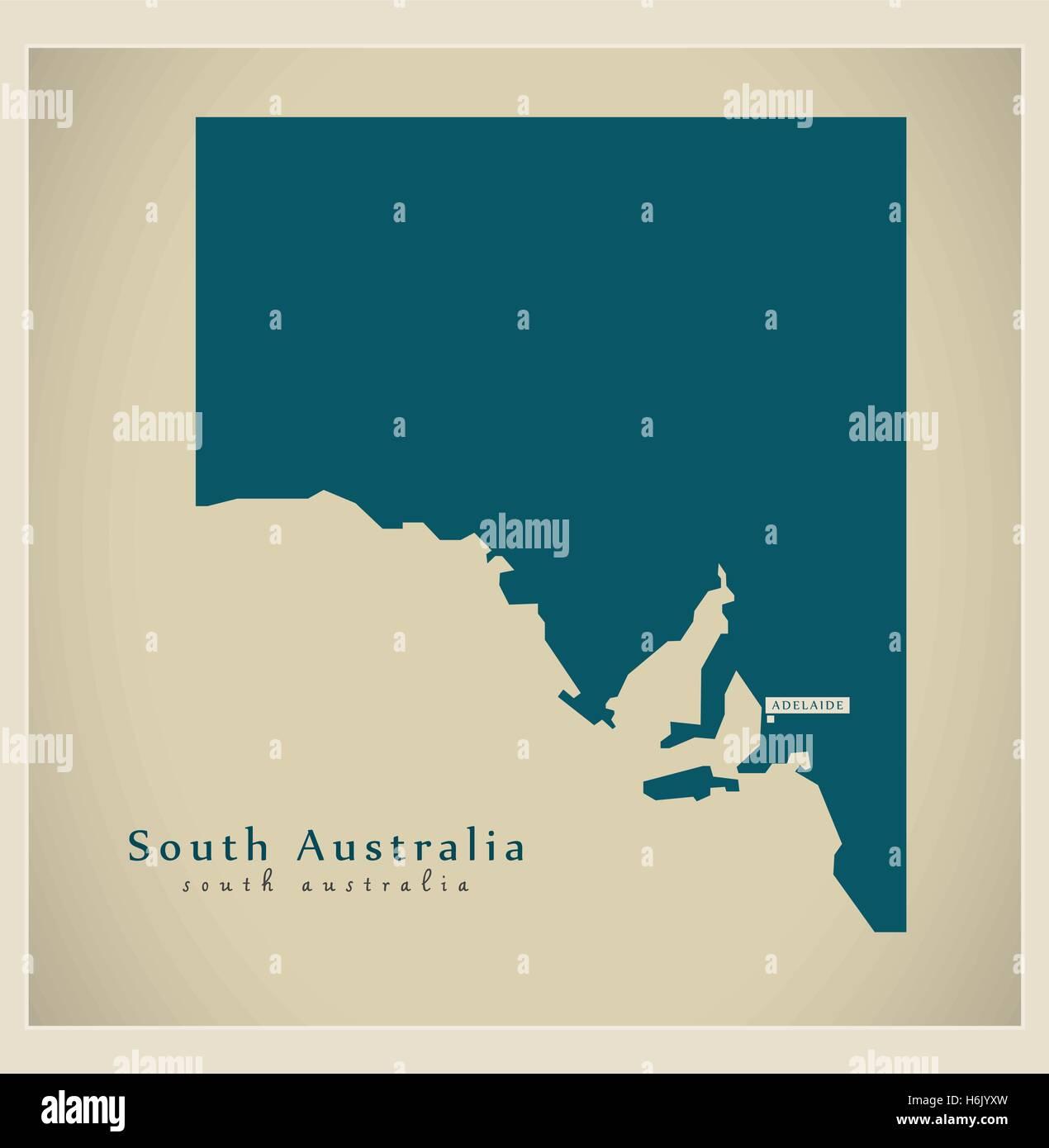 Modern Map - South Australia AU - Stock Image