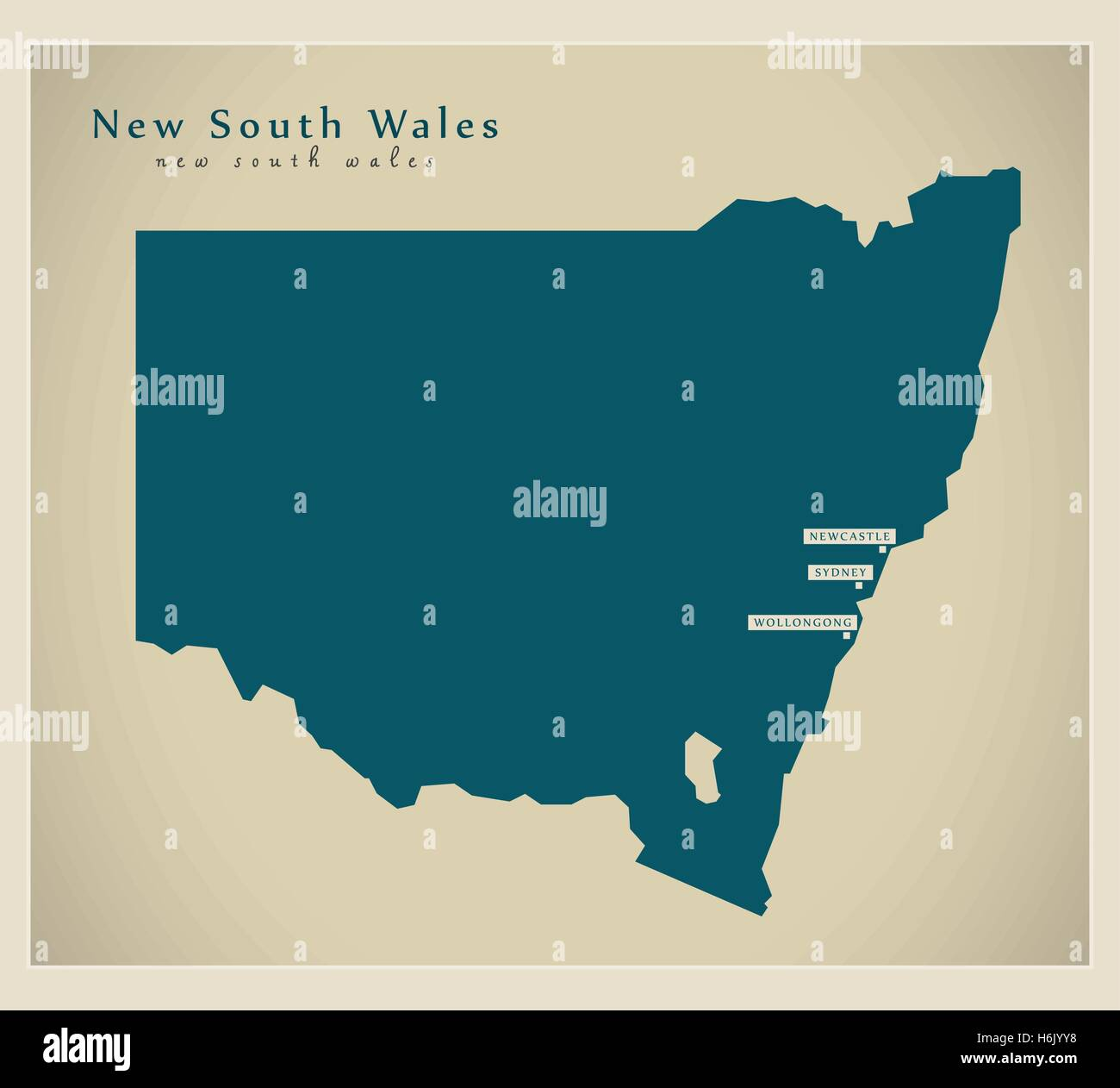 Modern Map - New South Wales AU - Stock Image