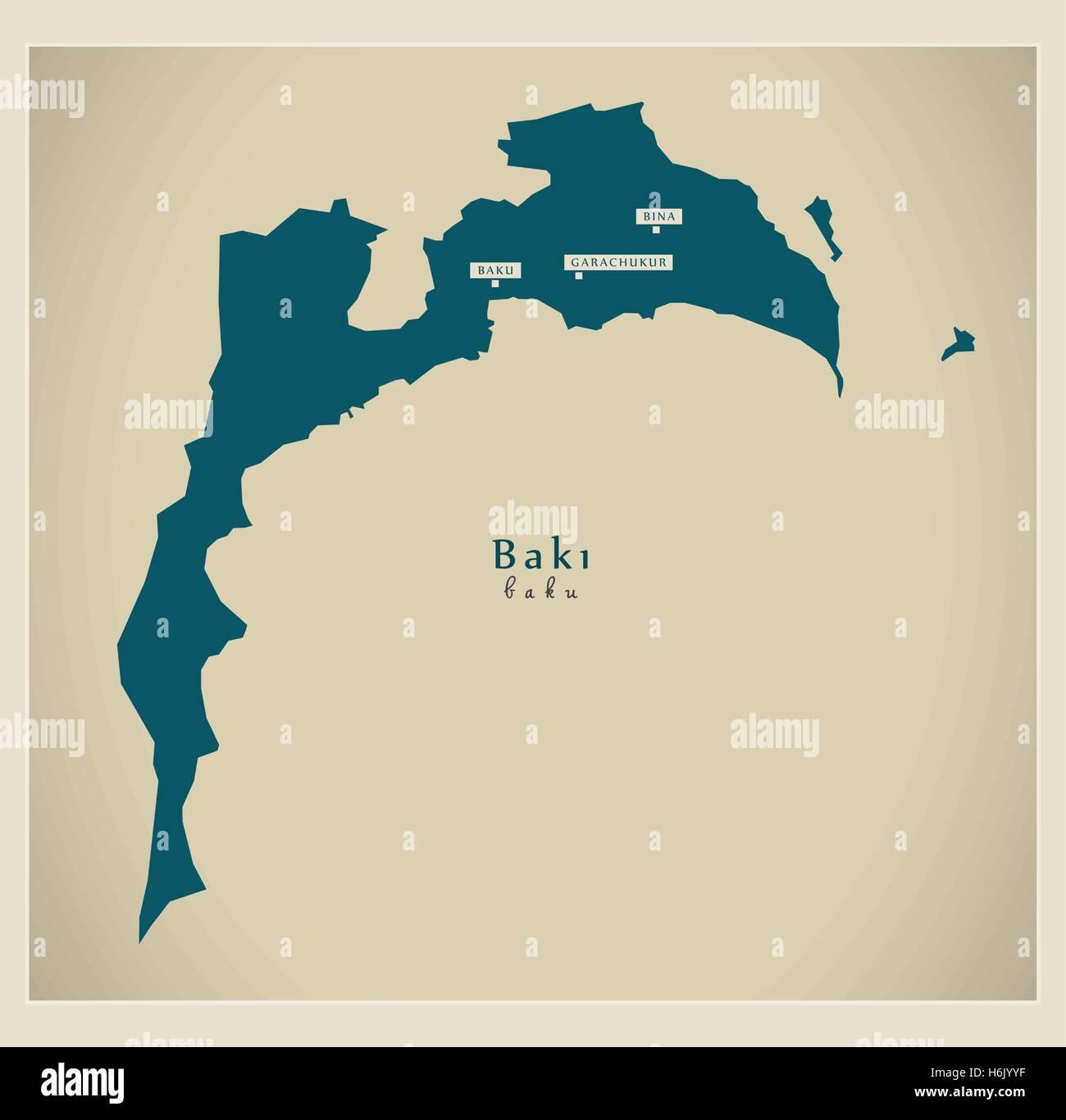 Modern Map - Baku AZ - Stock Vector