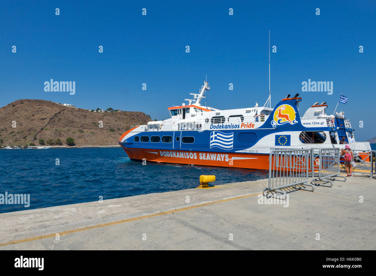 Ferry departing from Samos island Greece - Stock Image