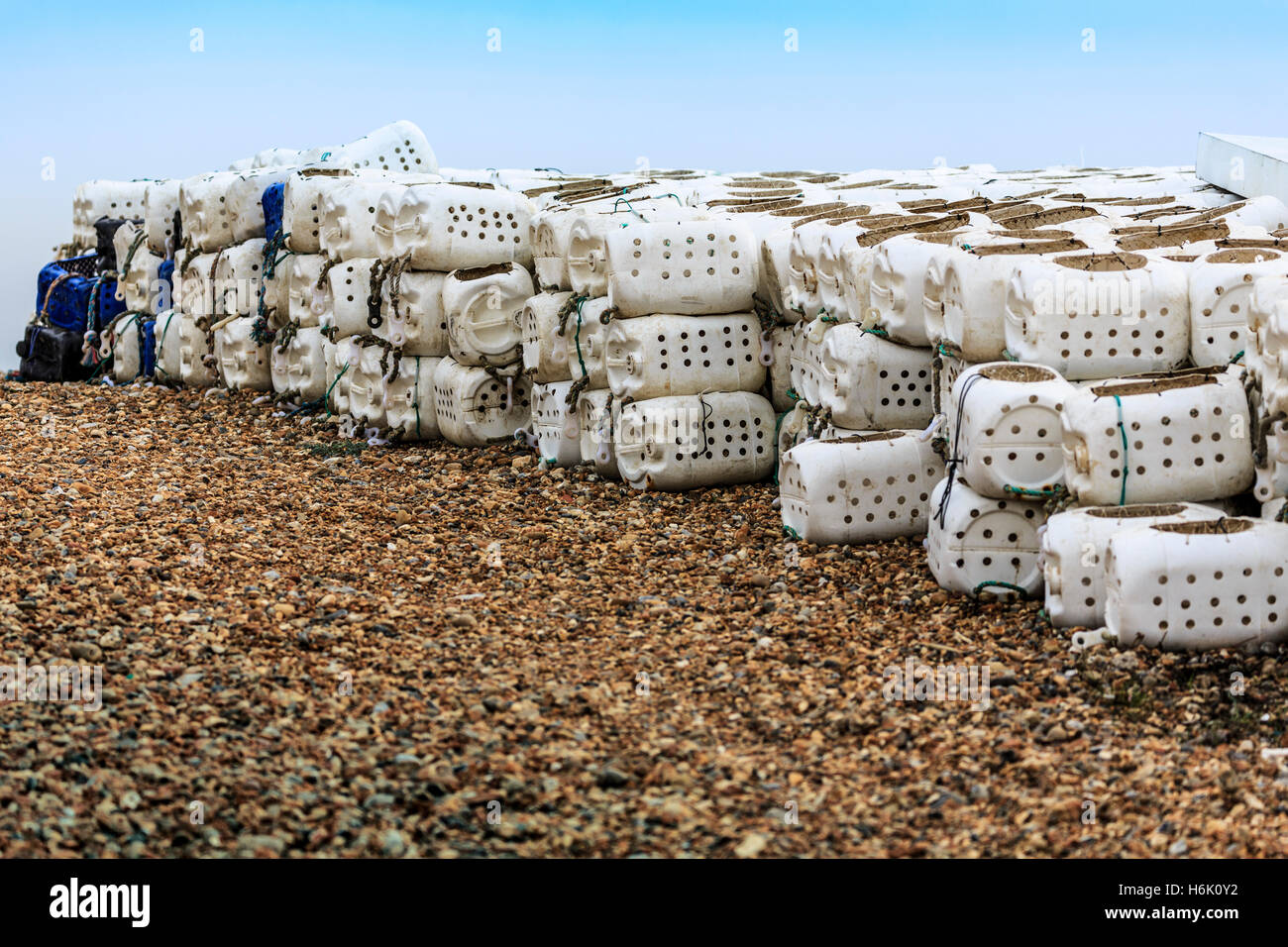 Old Fishing Pots on the Beach Stock Photo