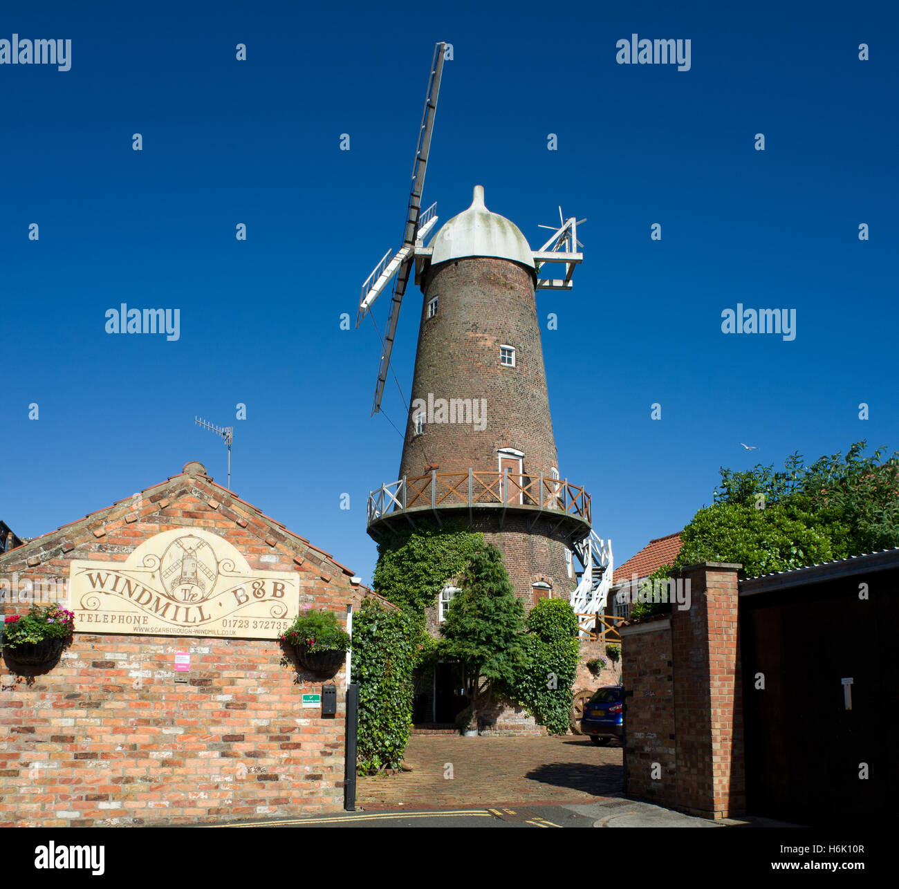 Windmill converted to B&B Scarborough North Yorkshire UK - Stock Image