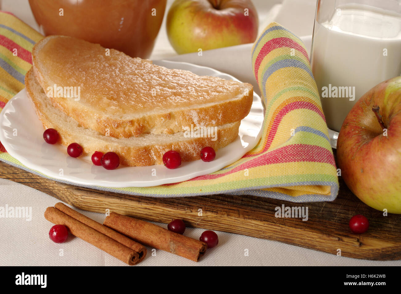 Bread with home made apple jam - Stock Image