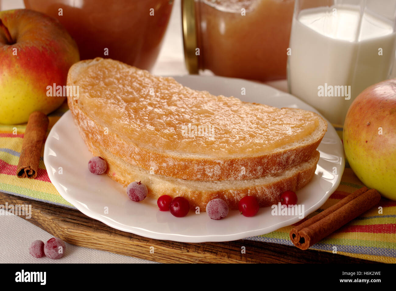 Bread with home made apple jam. - Stock Image