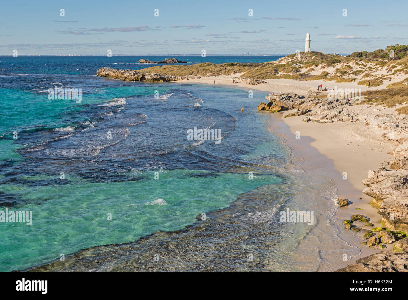 The Basin, Pinky Beach and Bathurst Lighthouse at Rottnest Island, near Perth in Western Australia. - Stock Image