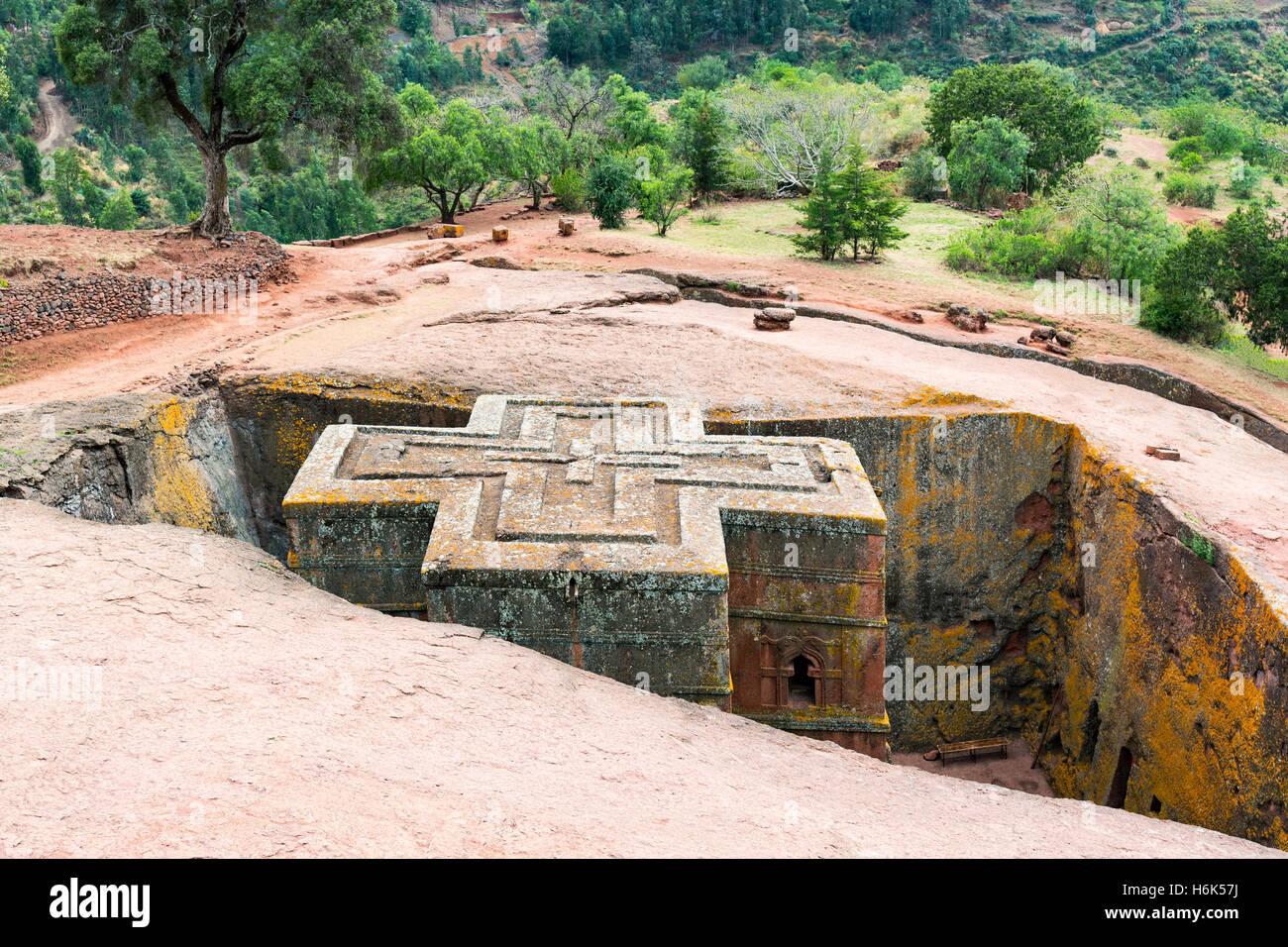 Ethiopia, Lalibela, the monolithic underground Saint George Orthodox church - Stock Image
