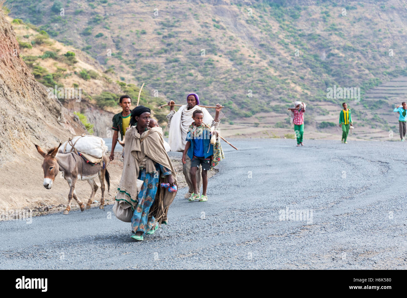 Lalibela, Ethiopia - January 16 , 2016: Local farmers on the way to the market of the country. - Stock Image