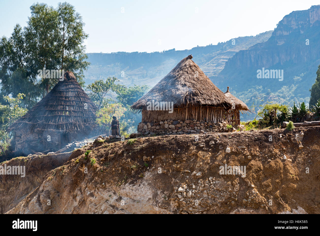 Ethiopia, Lalibela,  farmer's huts in the outskirts of the country. - Stock Image