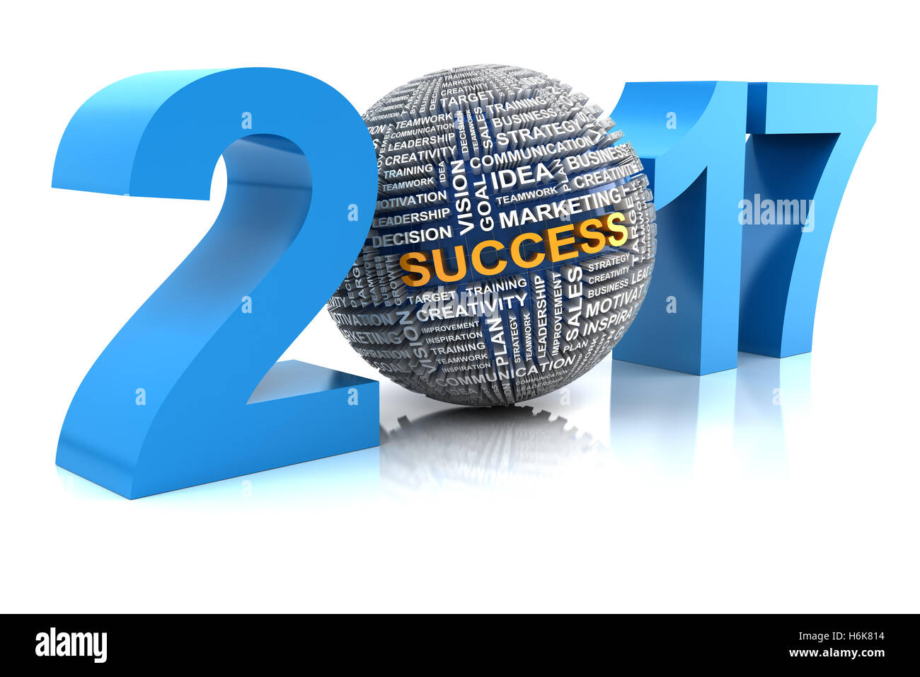 Business success in 2017, 3d render - Stock Image