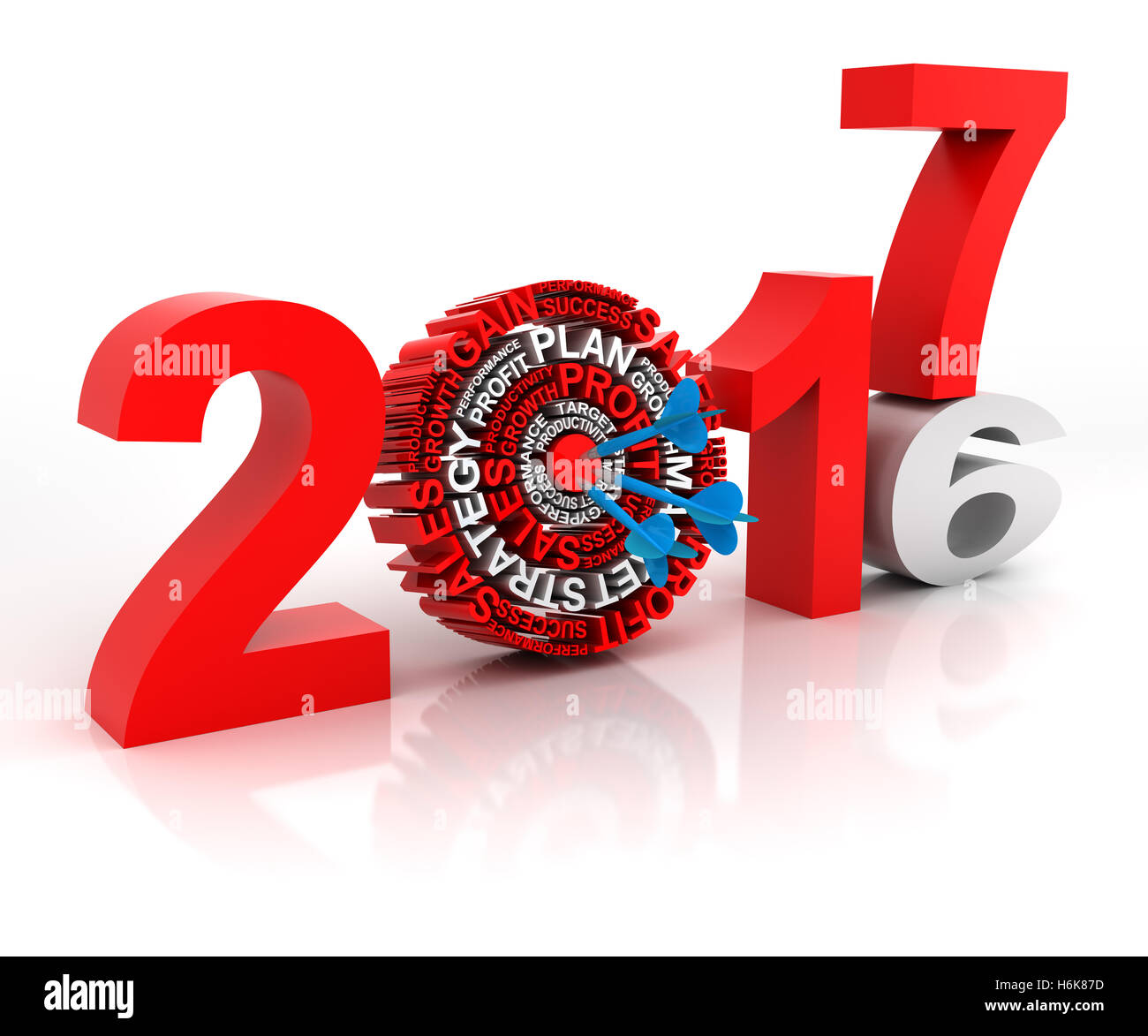 Year 2016 to 2017 business target, 3d render - Stock Image