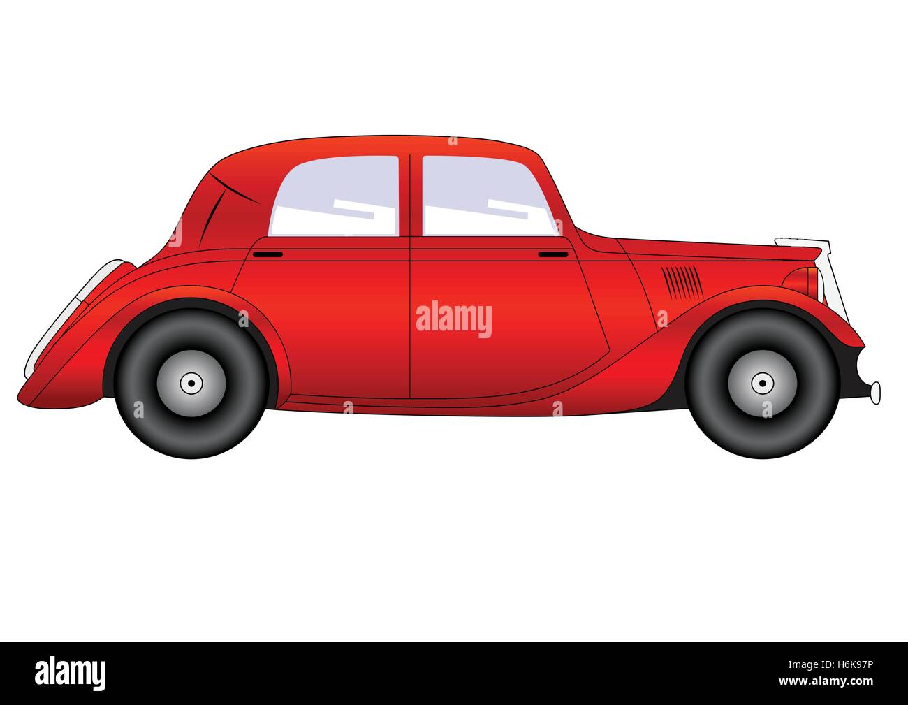 Coupe - vintage model of car on white background - Stock Image