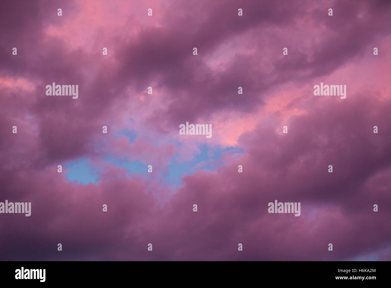 Colourful skyscape with versicolored purple clouds at sunset dusk - Stock Image