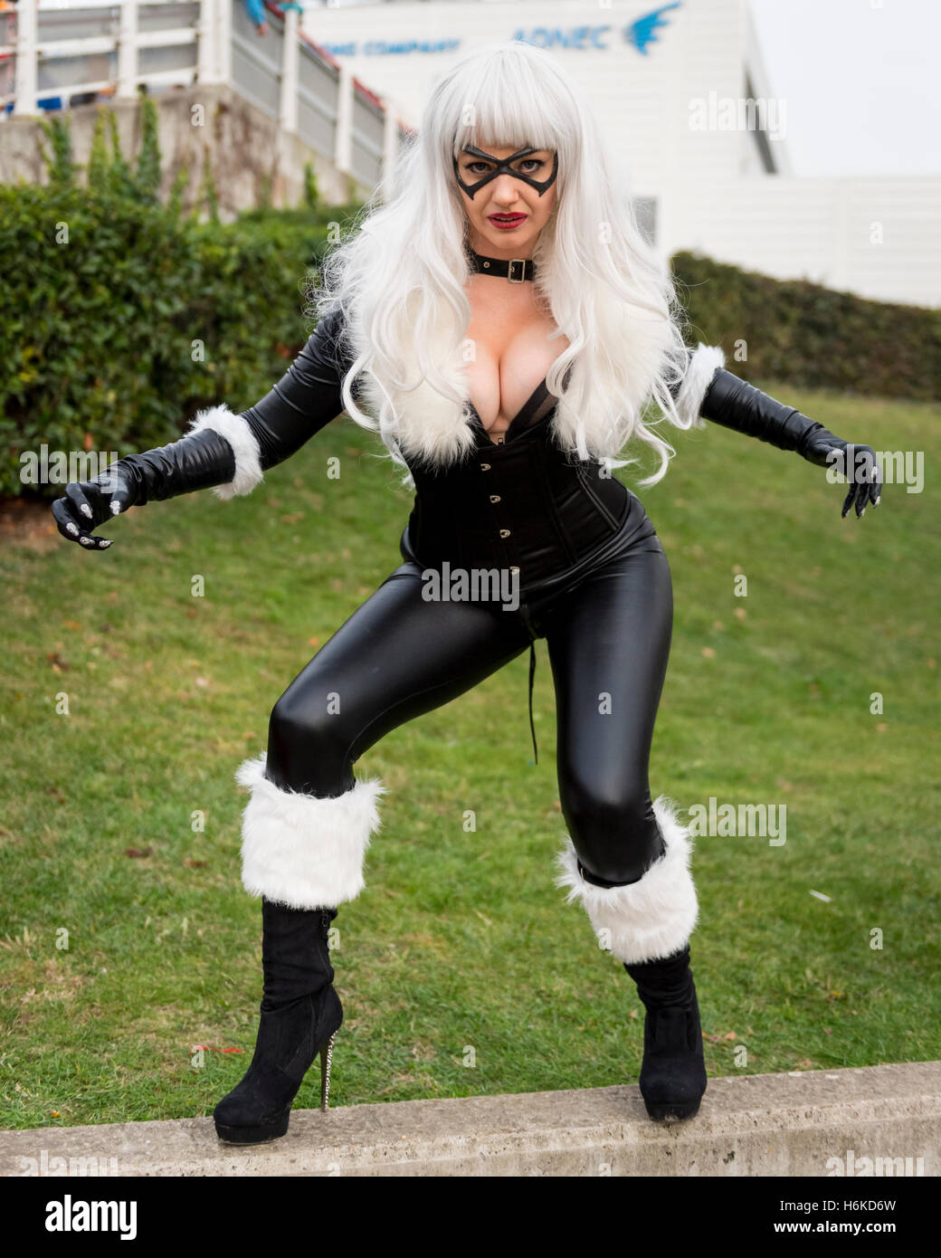 a58e218667f A girl dresses as Black Cat from SpiderMan, as cosplay, anime, games and  movie fans attend the popular MCM Comic Con festival at Excel in Docklands.