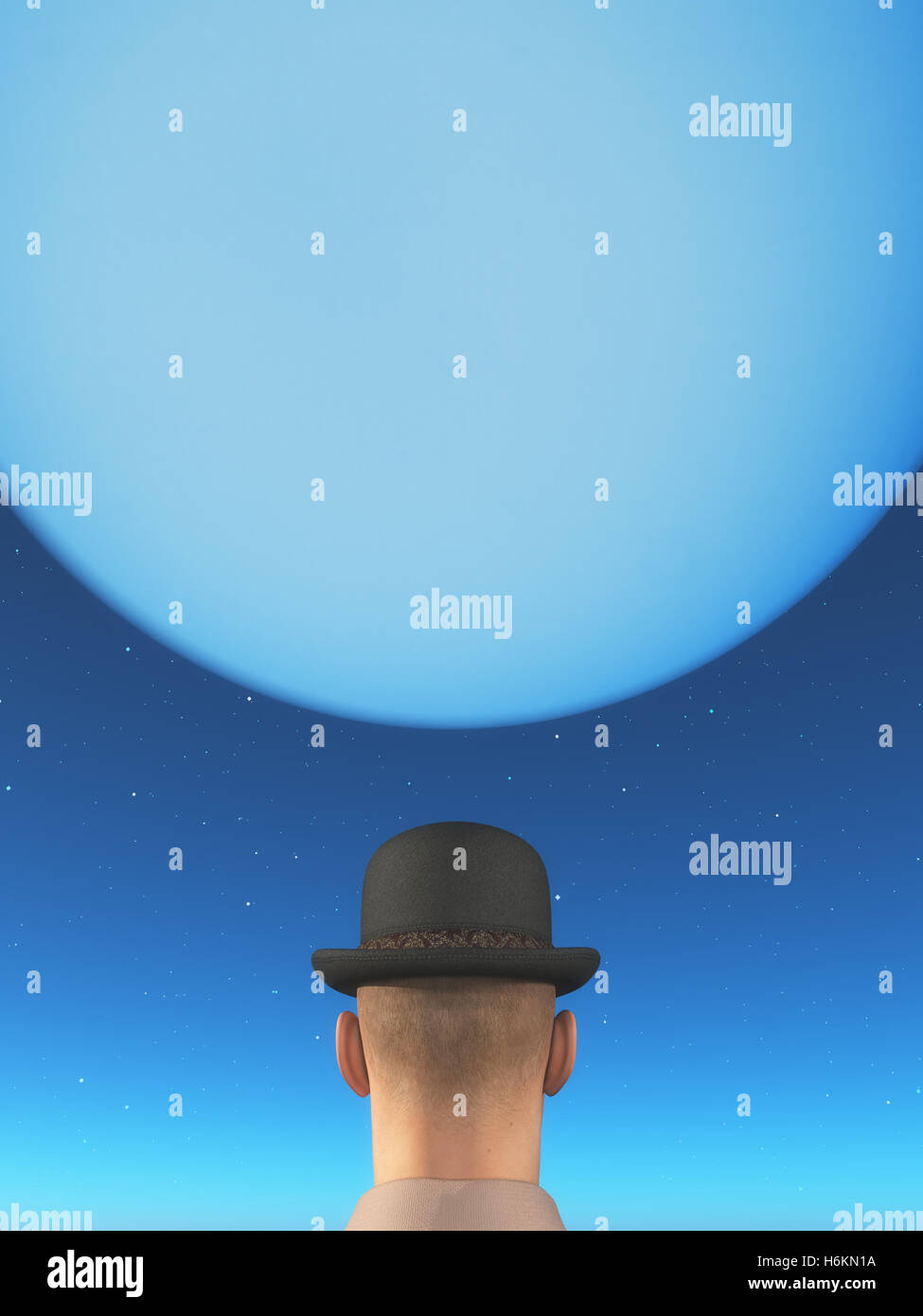 Man wearing a hat and looking to the moon. This is a 3d render illustration - Stock Image