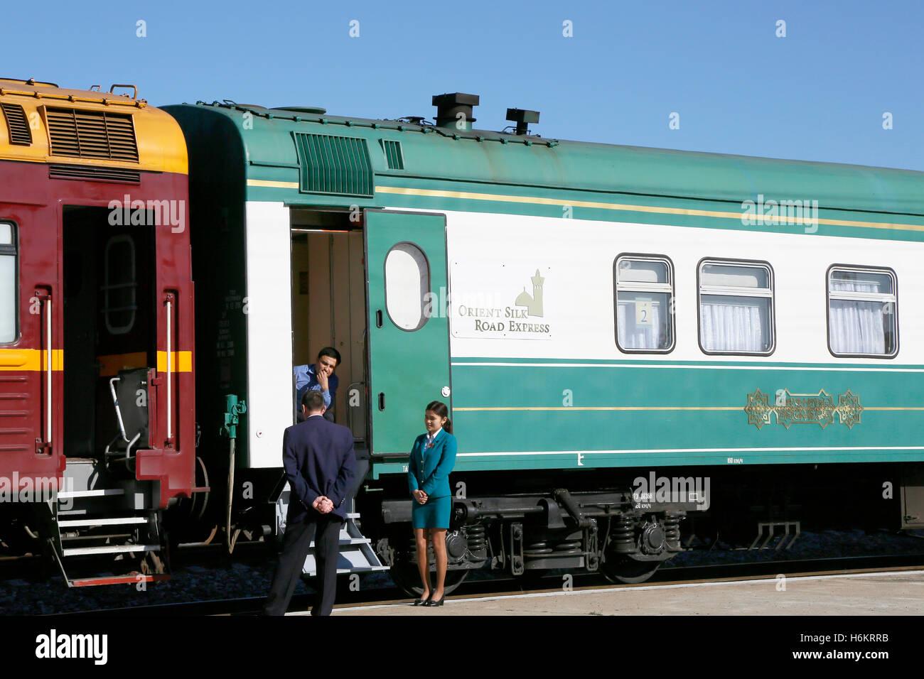 Kamashi train station, Uzbekistan. Treinstation Kamashi, Oezbekistan. The Orient Silk Road Express is waiting. Stock Photo