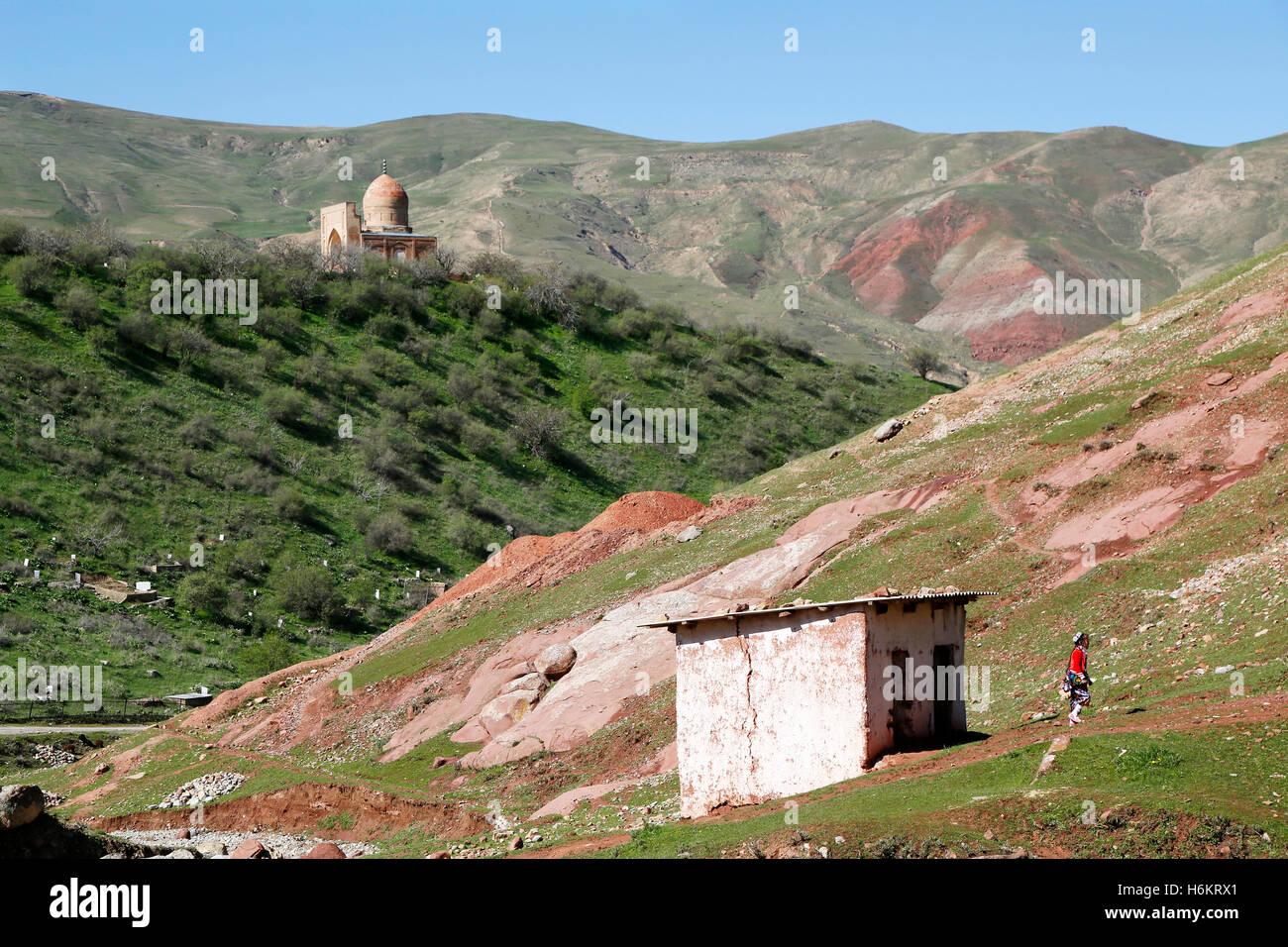 The remote farmers village of Langar in Uzbekistan. Het afgelegen dorp Langar in Oezbekistan. Stock Photo