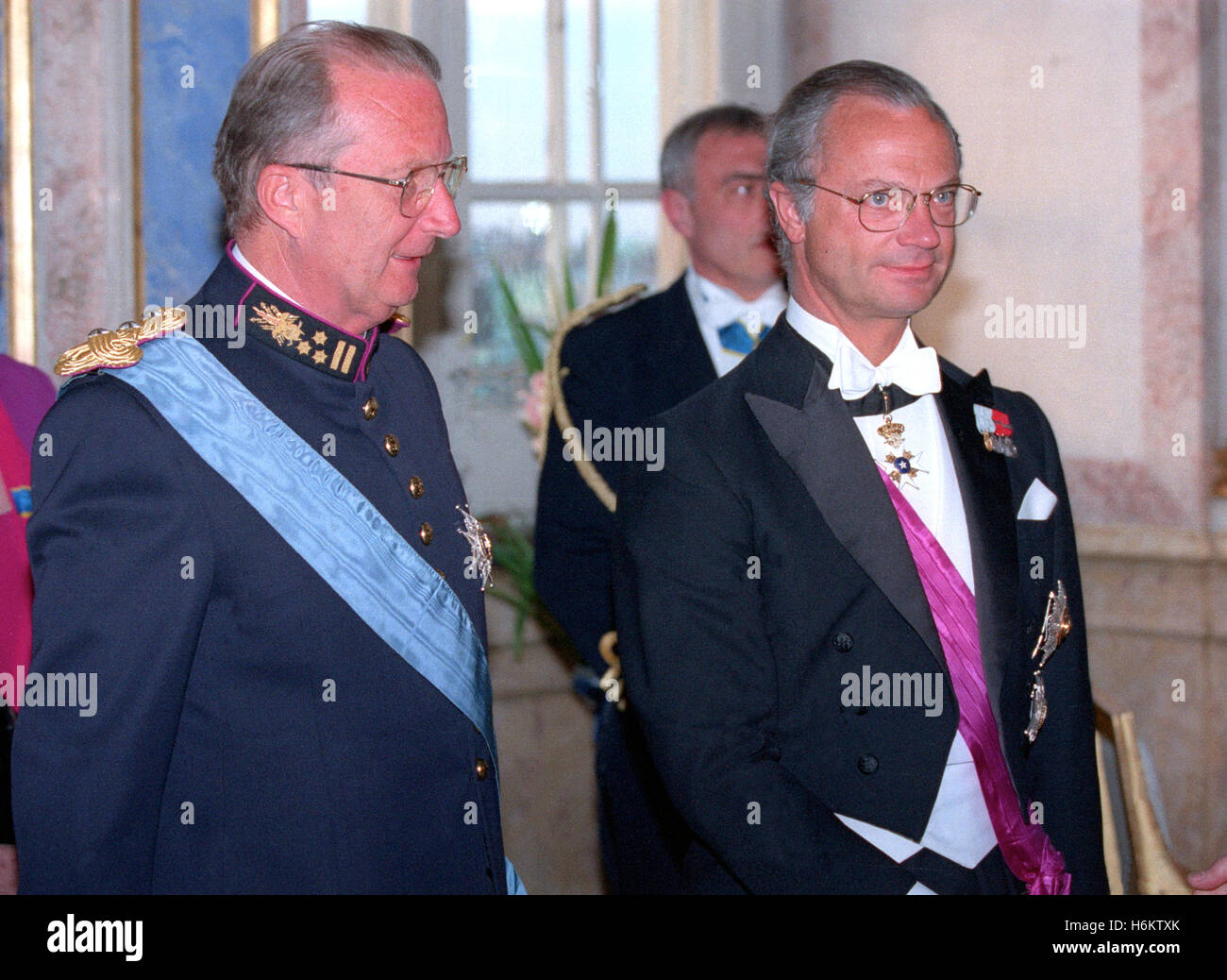 BELGIUM KING ALBERT II and Swedish King Carl XVI Gustav at State visit to Stockholm and a gala dinner at Royal Palace - Stock Image