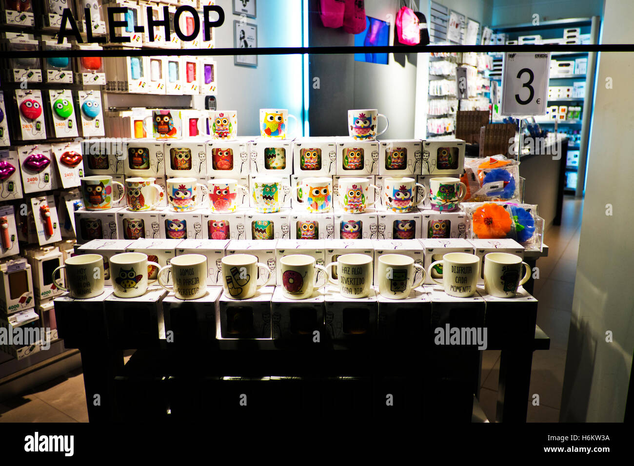 Shop window in Barcelona displaying and selling mugs for tourists, Spain - Stock Image