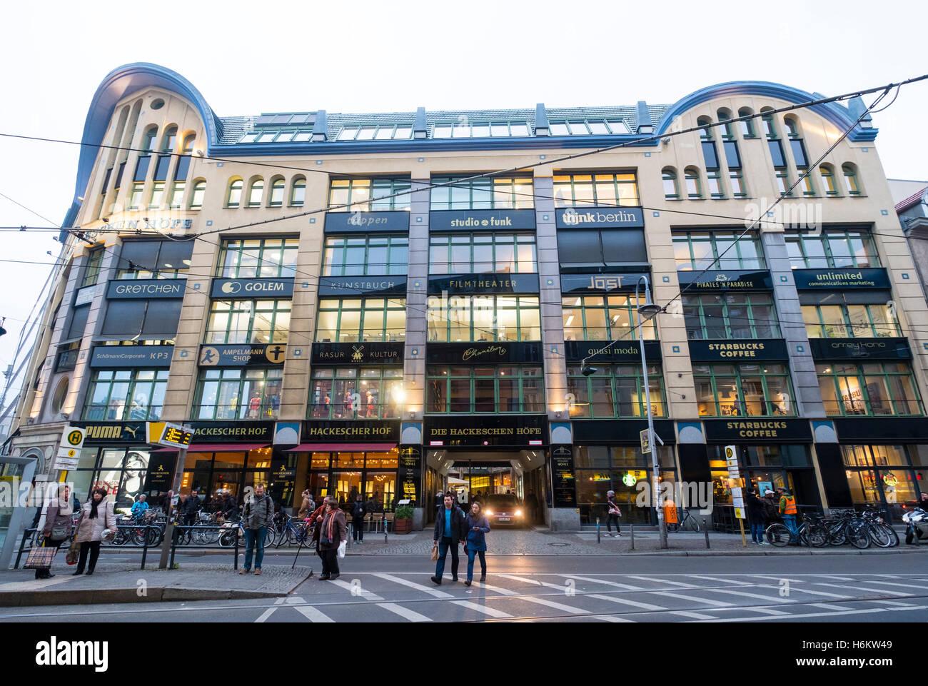 View of Hackescher Hof, historic retail and culture development in Mitte Berlin Germany - Stock Image