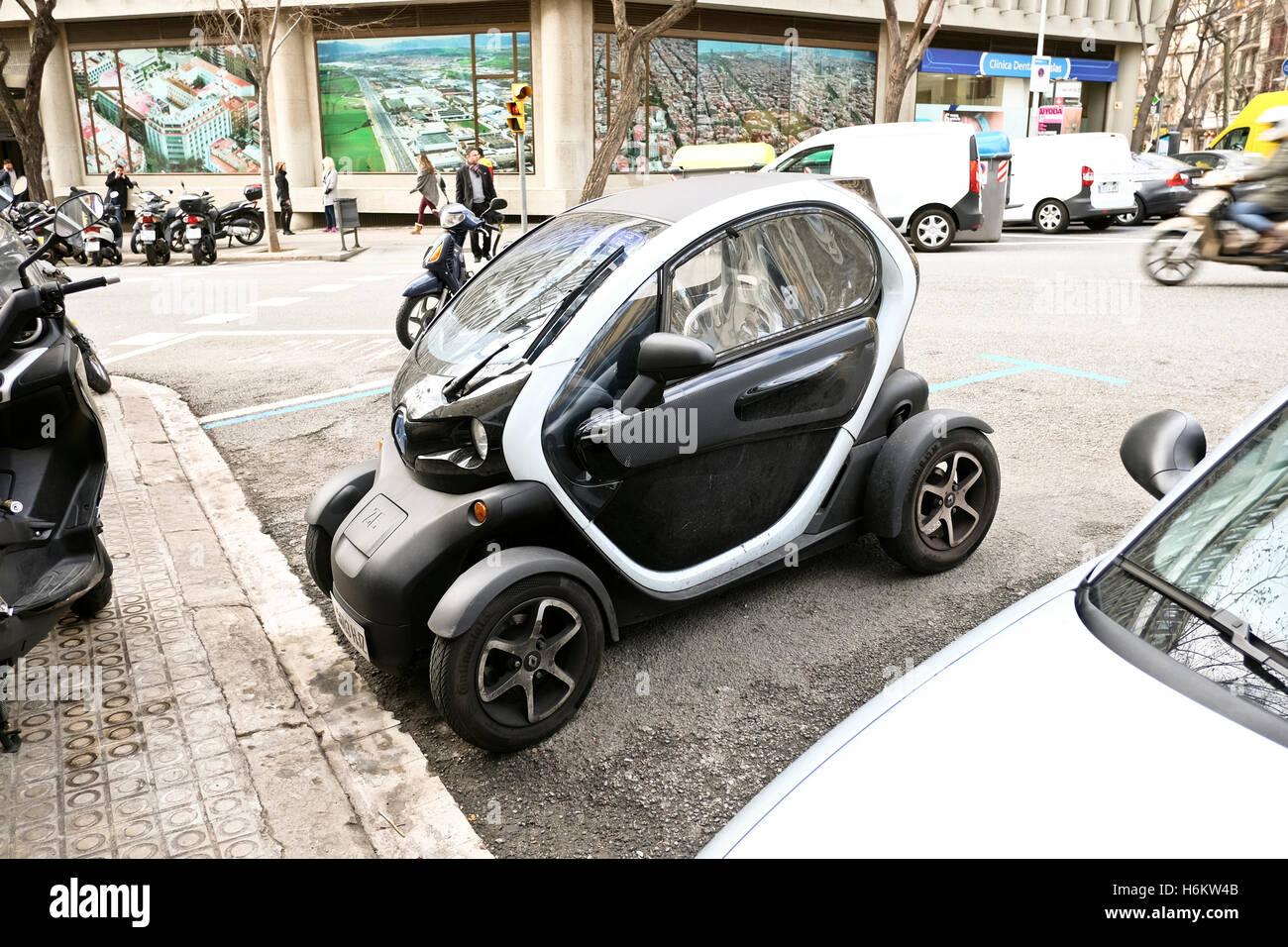 Renault Twizy parked in a street in Barcelona, Spain Stock Photo