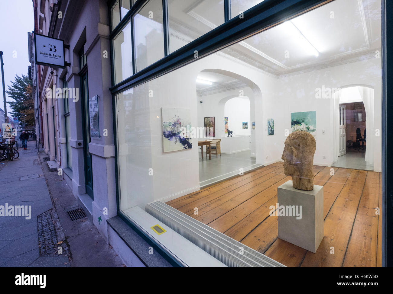 Exterior of Galerie Berlin,  art gallery on Auguststrasse a street with many art galleries in Mitte Berlin Germany - Stock Image