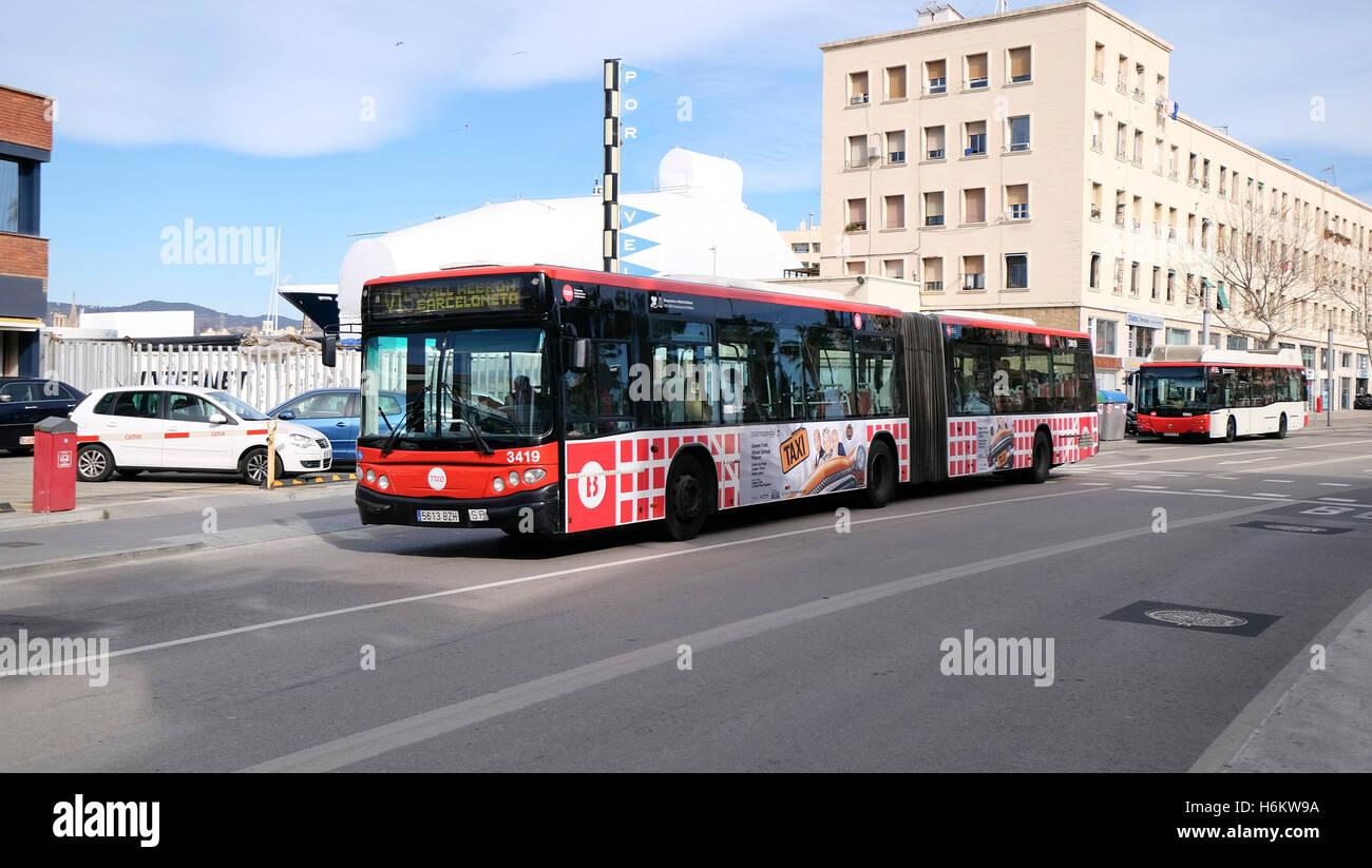 Public transport 'bendybus' in Barcelona, Spain - Stock Image