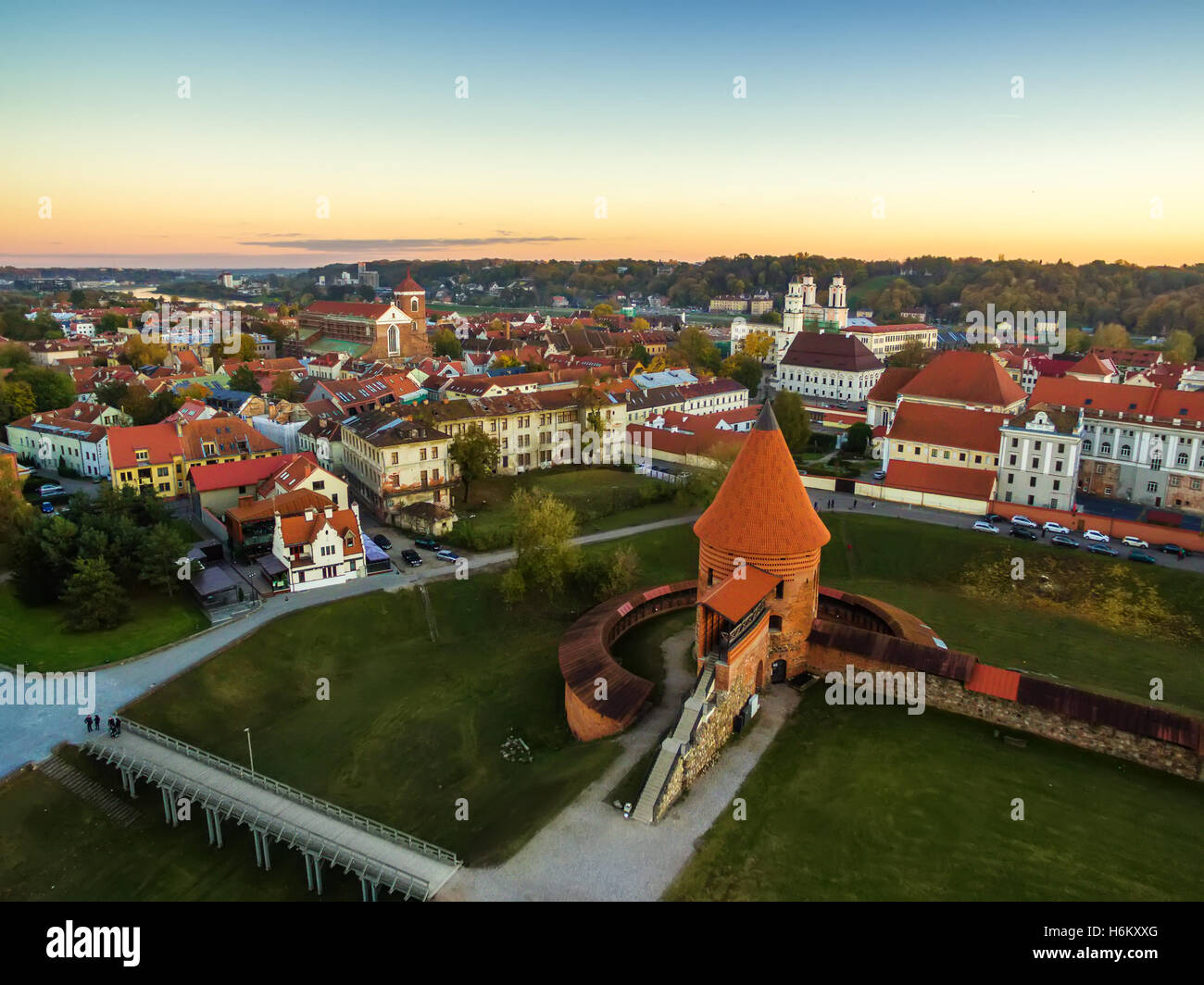 Kaunas, Lithuania: aerial top view of old town and castle - Stock Image