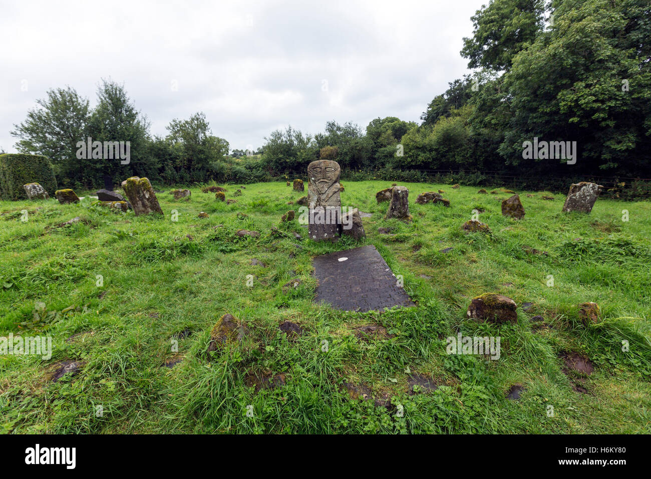 The bilateral Boa Island figure at Caldragh graveyard, Boa Island, Northern Ireland, UK - Stock Image