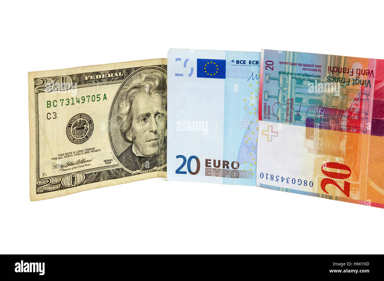 Banknotes Of 20 Dollars Euro And Swiss Franc Isolated On White Background With Clipping Path